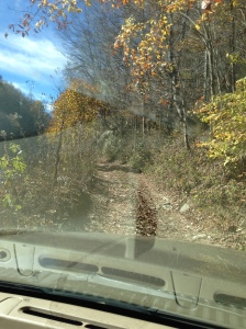 This is the bottom of Ron and Suzanne's driveway where we decided to go into four wheel drive.