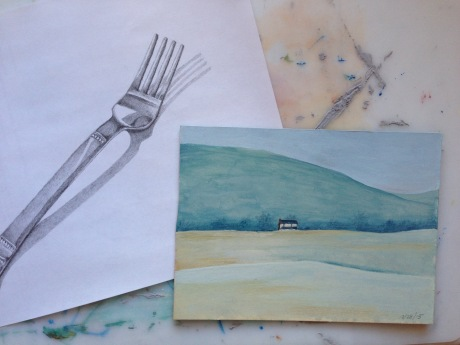 fork and house