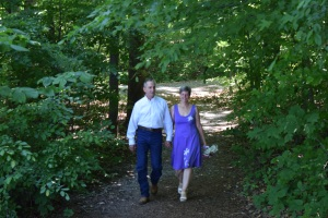 Our walk in the woods to the ceremony.