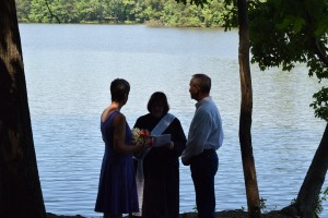 Vows by the lake.