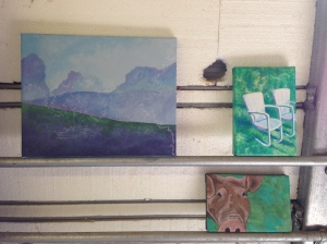 Two small painting finished yesterday. The landscape one is a work in progress. Yes, that is a mouse hole on the wall and yes, it stuck it's head out to say hello this morning.